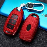 For Hyundai IX35 Smart 3-button Car TPU Key Protective Cover Key Case with Key Ring (Red)