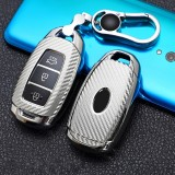 For Hyundai IX35 Smart 3-button Car TPU Key Protective Cover Key Case with Key Ring (Silver)