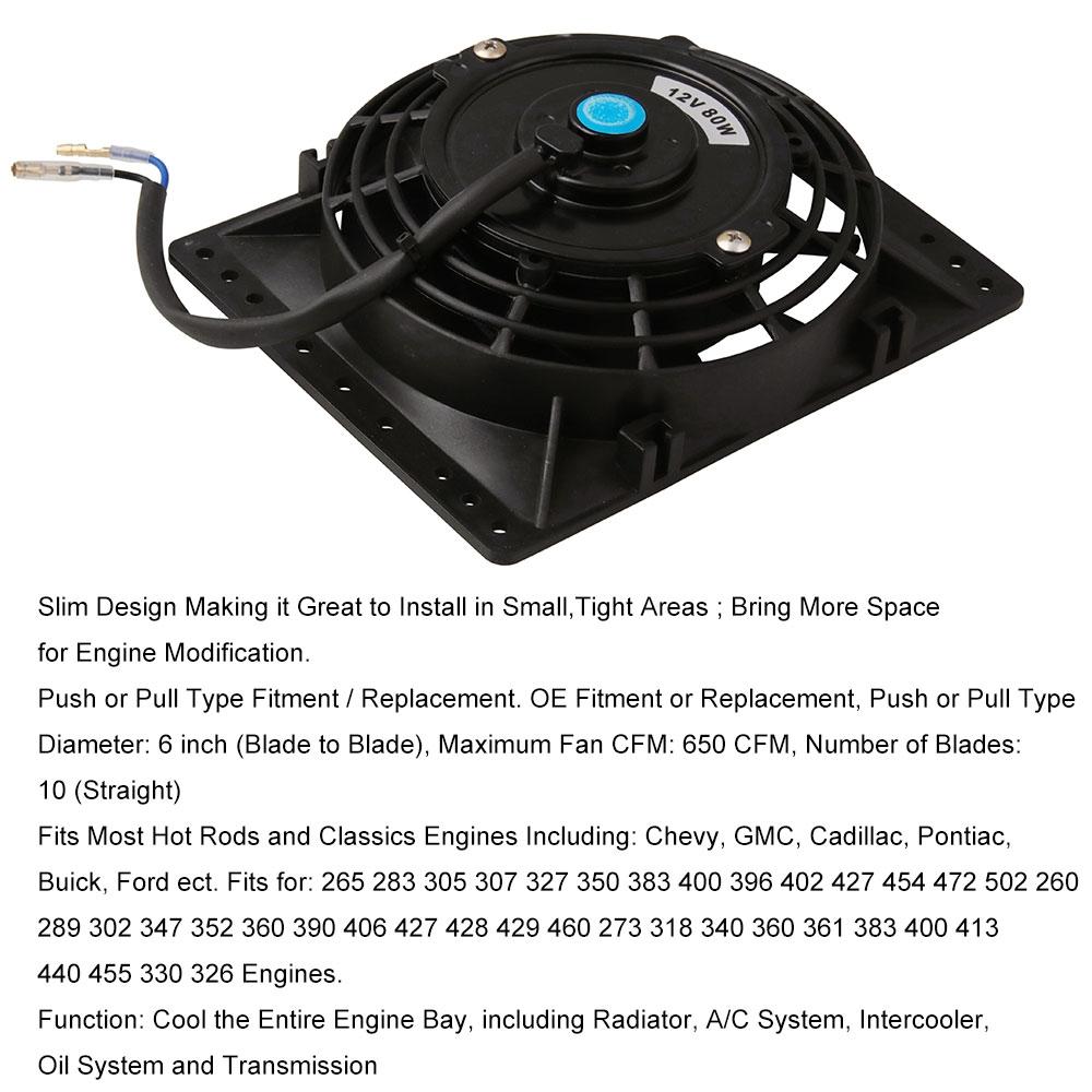 12V 80W 6 inch Car Cooling Fan High-power Modified Tank Fan Cooling Fan Powerful Fan with Mounting Accessorie