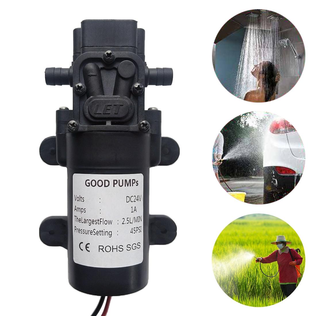 Diaphragm Reflux Mini Electric Water Pump 29W High Pressure Self-priming Water Pump for Car Washing / Irrigation, Voltage: 24V