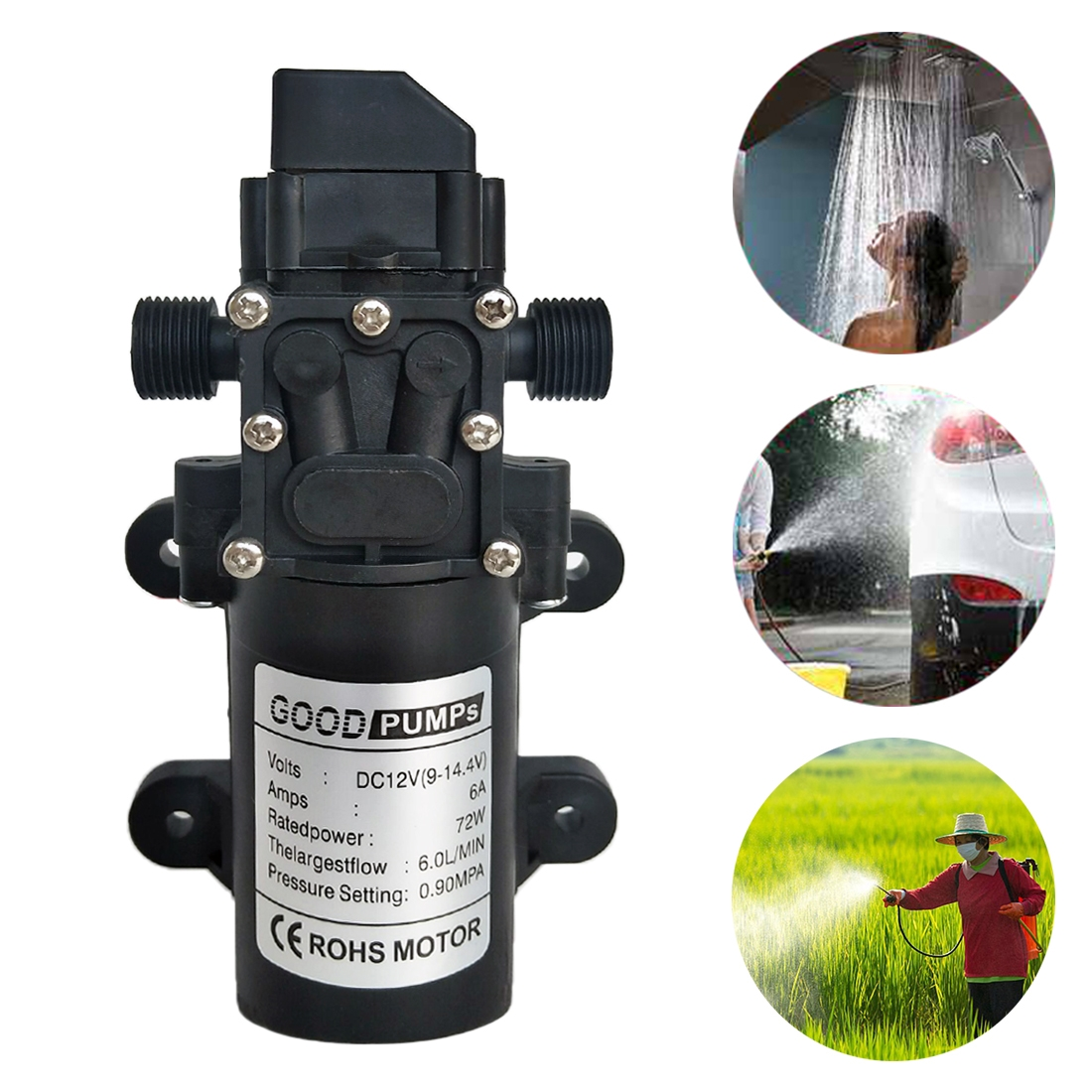 12V 72W Self-priming Pump High Pressure Car Washing Intelligent Diaphragm Right Out Water Pump, Type: Double Thread (Double Flat Mouth 18mm)