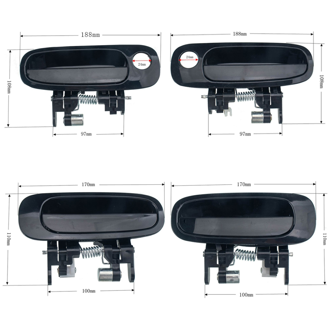 4 PCS Car Door Outside Handle 6922/10-02030+6924/30-02040 for Toyota Corolla 1998-2002 with Tool Kit