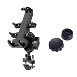U-shaped Bolt Ball-Head Motorcycle Handlebar Multi-function Eight-jaw Aluminum Alloy Mobile Phone Navigation Holder Bracket with Anti-theft Knobs, Width of Phone: 6.5-10.2cm