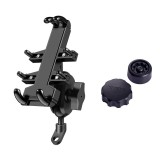 Tilt Rearview Mirror Screw Hole Ball-Head Motorcycle Handlebar Multi-function Eight-jaw Aluminum Alloy Mobile Phone Navigation Holder Bracket with Anti-theft Knobs, Width of Phone: 6.5-10.2cm