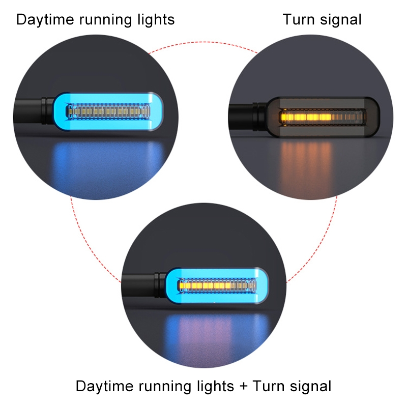 2 PCS D12V Motorcycle LED Waterproof Dynamic Blinker Side Lights Flowing Water Turn Signal Light with Handle (Red Light)