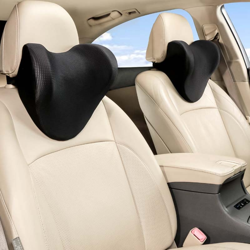 Car Headrest And Neck Pillow Ice Silk Breathable Space Memory Foam Pillow (Black)