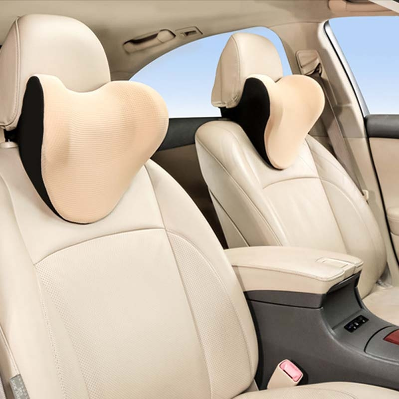 Car Headrest And Neck Pillow Ice Silk Breathable Space Memory Foam Pillow (Apricot)