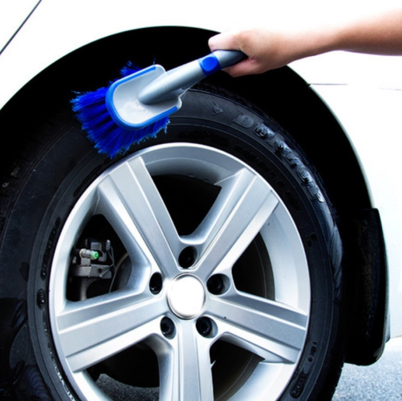 3 PCS Wheel Hub Long-Handled Brush Special Tool For Powerful Decontamination & Cleaning Of Tires, Color: Blue Long Pole