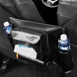 Car Seat Storage Net Pocket Car Storage Bag Multi-Function Suspended Storage Bag, Color: Upgrade Black of Black Line]