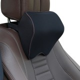 Car Headrest Pillow Neck Pillow Car Memory Foam Cervical Pillow Interior Supplies (Black Brown Edge)