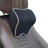 Car Headrest Pillow Neck Pillow Car Memory Foam Cervical Pillow Interior Supplies (Black White Edges)