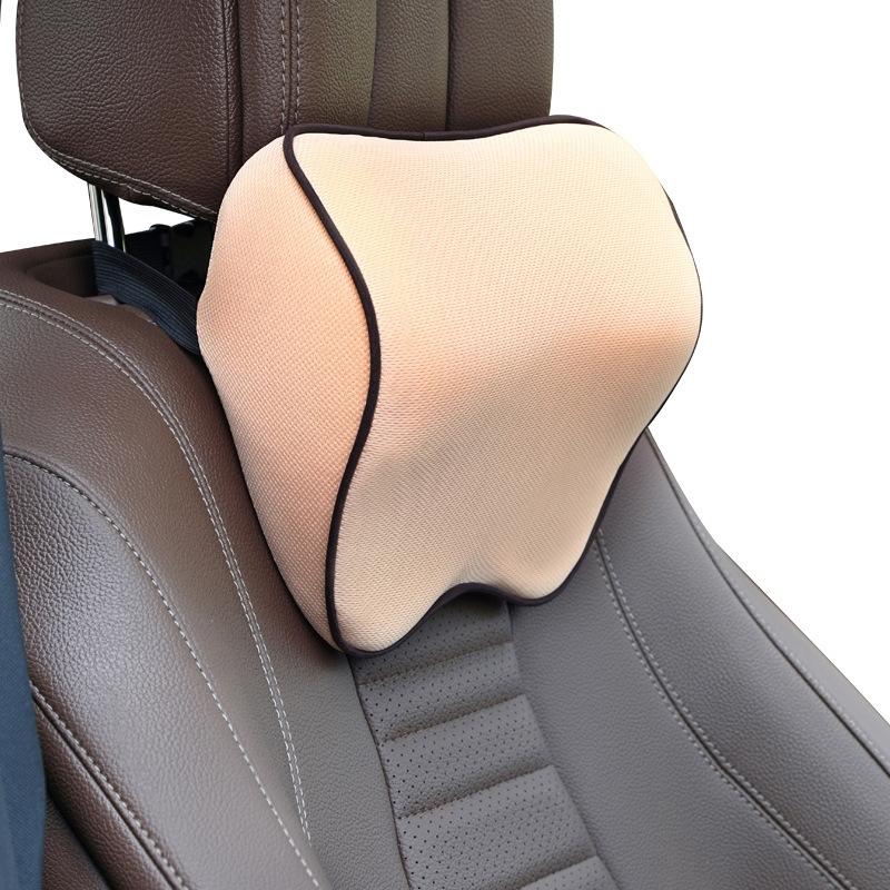 Car Headrest Pillow Neck Pillow Car Memory Foam Cervical Pillow Interior Supplies (Beige)