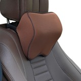 Car Headrest Pillow Neck Pillow Car Memory Foam Cervical Pillow Interior Supplies (Light Brown)