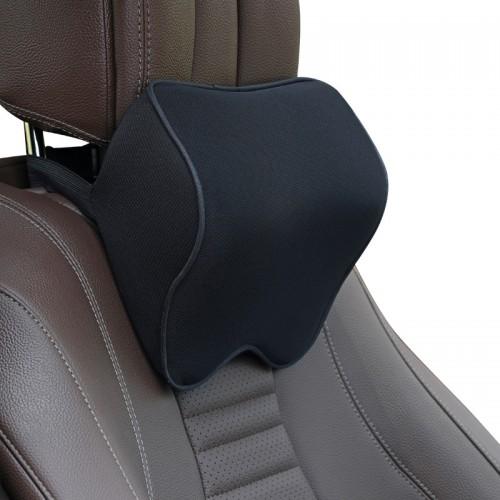 Car Headrest Pillow Neck Pillow Car Memory Foam Cervical Pillow Interior Supplies (Black and Black Edge)