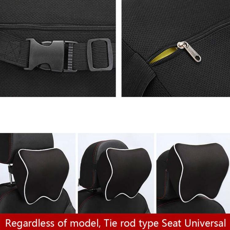 Car Headrest Pillow Neck Pillow Car Memory Foam Cervical Pillow Interior Supplies (Black Brown Edge)
