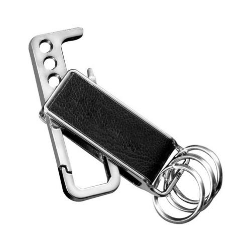 CS-012 3 PCS Lychee Pattern Leather Double Ring Corkscrew Keychain