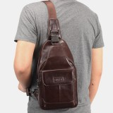 Men Genuine Leather New Vinatge Large Capacity Chest Bag Shoulder Bag Crossbody Bag