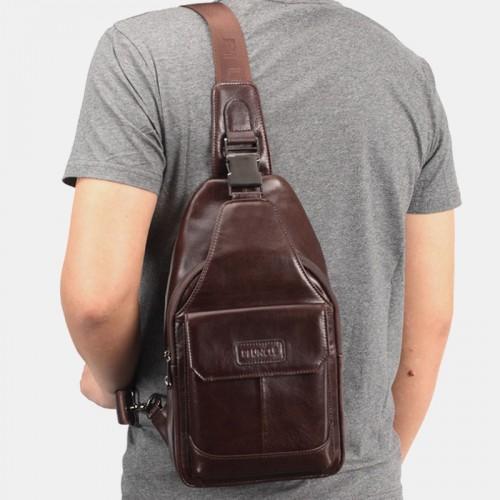 Men Genuine Leather New Vinatge Large Capacity Chest Bag Shoulder Bag Crossbody Bag