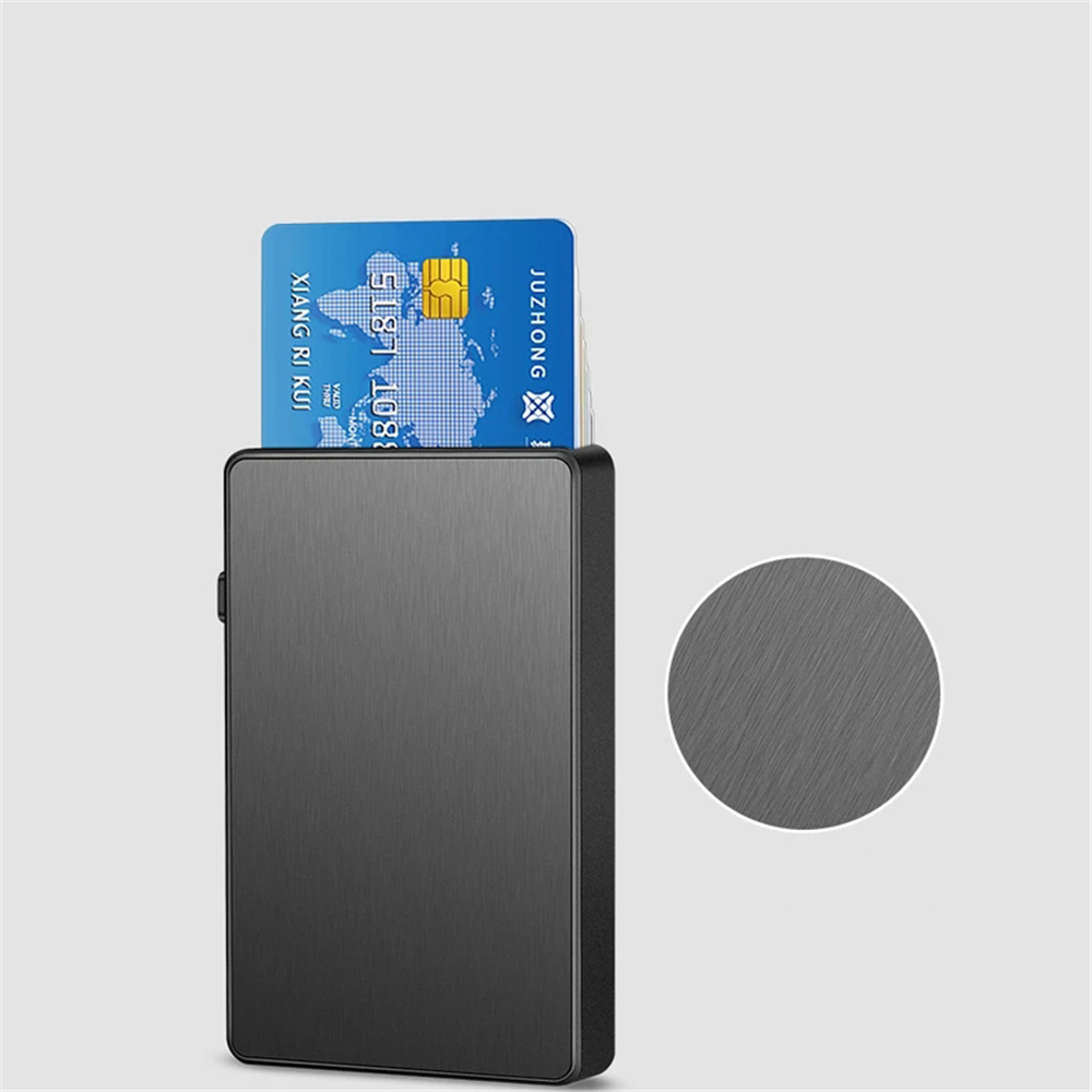 New-Bring Metal Card Holder Aluminum Alloy Extra Thin One Tap To Popup Design Card Holder RFID Blocking Card Cash Wallet