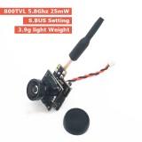EWRF 7081U AIO Camera 800TVL 170 Degree 4:3 5.8Ghz 48CH 25mW Mini FPV VTX-CAM 3.9g Support SBUS Setting