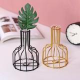 Black/Gold Nordic Style Iron Hydroponic Flower Lantern-shaped Vase Decoration