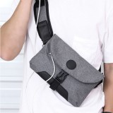 Men USB Charging Solid Color Casual Outdoor Sport Multi-carry Chest Bag Crossbody Bag Belt Bag