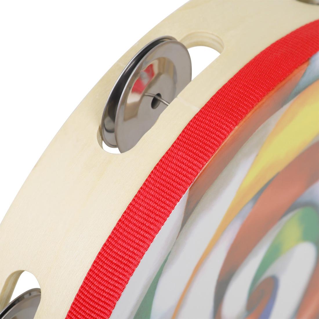 DT-64 8 Inch Lollipop Single Row Hand Tambourine Orff Musical Instrument