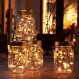 Solar Powered Mason Jar Lid 20LEDs Fairy String Light Hanging Party Garden Home Decor