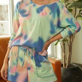 Tie-dye Print O-neck Casual Loose Drawstring Waist Pocket Pants Two Pieces Sets