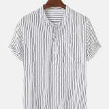 Mens Pinstripe Stand Collar Casual Short Sleeve Henley Shirts With Pocket