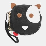 Women Genuine Leather Cowhide Cute Cartoon Dog Pattern Small Storage Bag Coin Bag