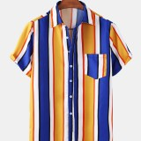 Colorful Vertical Stripe Lane Print Patch Pocket Short Sleeve Casual Holiday Shirts