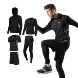 TENGOO 5PCS Men Sportswear Hoodie O-neck Sports Suit Elastic Tracksuit Sport Clothing Jogging Fitness Gym Running Sets