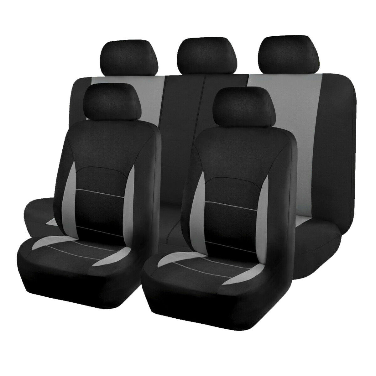 Universal Grey Car Seat Covers 9Pcs Full Set Protectors Washable For Front Rear Seat
