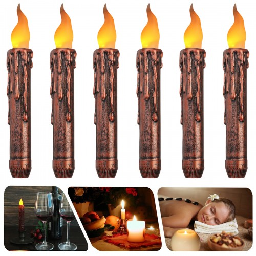 6PCS Flameless LED Candle Flickering Tea Light Battery Operated Timer Holiday Night Lamp