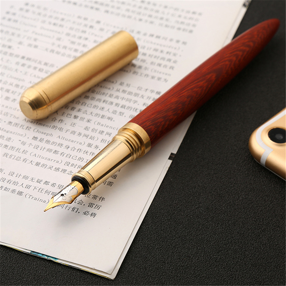 0.7mm Nib Wood Fountain Pen Ink Classic Metal Wood Pen Calligraphy Writing Business Gifts Stationery Office School Supplies