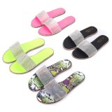 Womens Rhinestone Bling Slippers Summer Beach Flip Flops Flat Walking Hiking Camping Home Anti-slip Comfortable Slippers Loafers Shoes