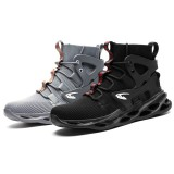 AtreGo Men Safety Shoes Steel Toe Cap Work Boots High Top Sport Hiking Sneakers
