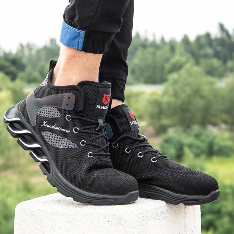 Men Women Safety Shoes Steel Toe Cap Work Shoes Mesh Anti-slip Sneakers Walking Hiking Jogging Running Shoes