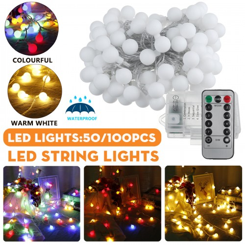 2M/5M/10M Battery Powered LED String Light 8 Modes Globe Bulb Ball Fairy Lamp For Patio Outdoor Garden Christmas Party Decor