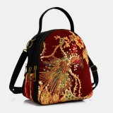 Women Canvas Ethnic Style Embroidery Peacock Pattern Sequin Mini Multi-carry Handbag Crossbody Bag