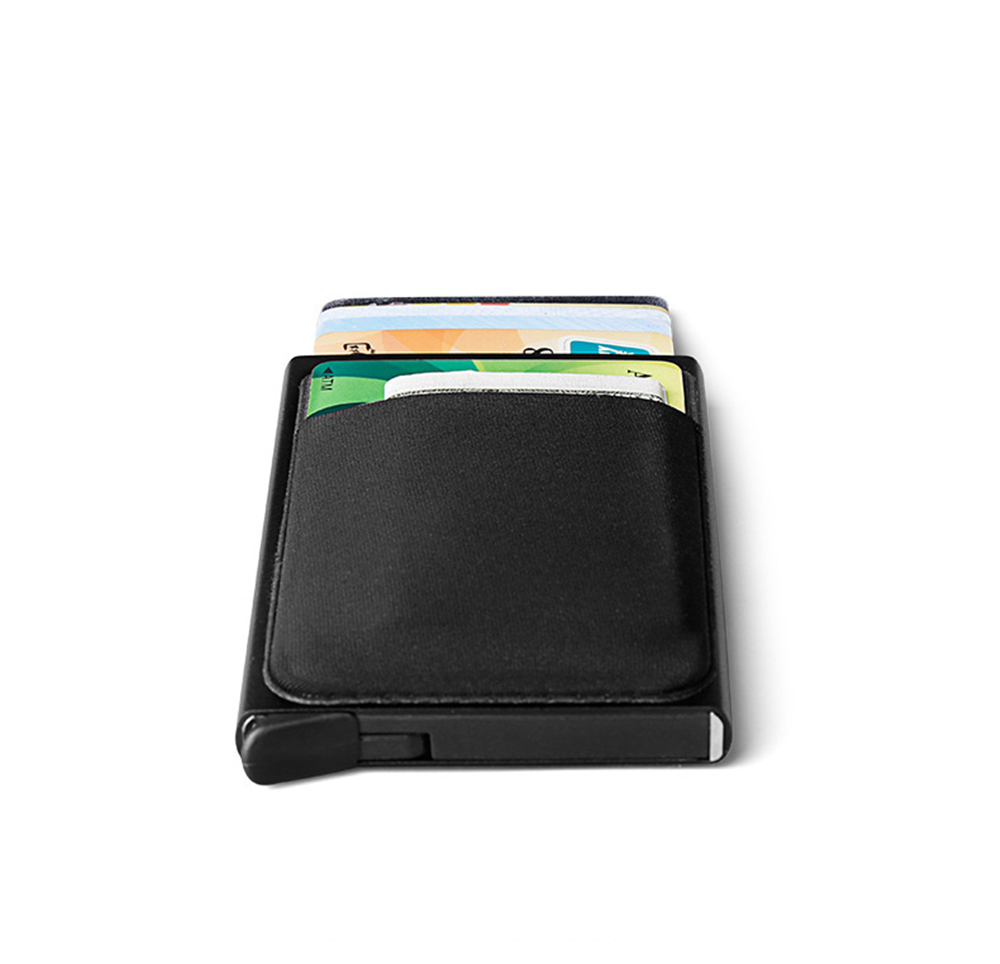 New-Bring Metal Card Bag Aluminum Alloy RFID Blocking Protection Wallet With Back Slot Orderly Popup Design Card & Cash Holder