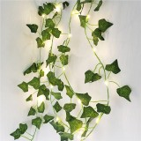 1X 2M Artificial Plants Led String Light Creeper Green Leaf Ivy Vine For Home Wedding Decor Lamp DIY Hanging Garden Yard Lighting (Come Without Battery)