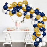 61Pcs Navy Theme Party Balloon Set Arch Latex Balloon with Gold Confetti Set for Kids Baby Shower Birthday Party Decoration