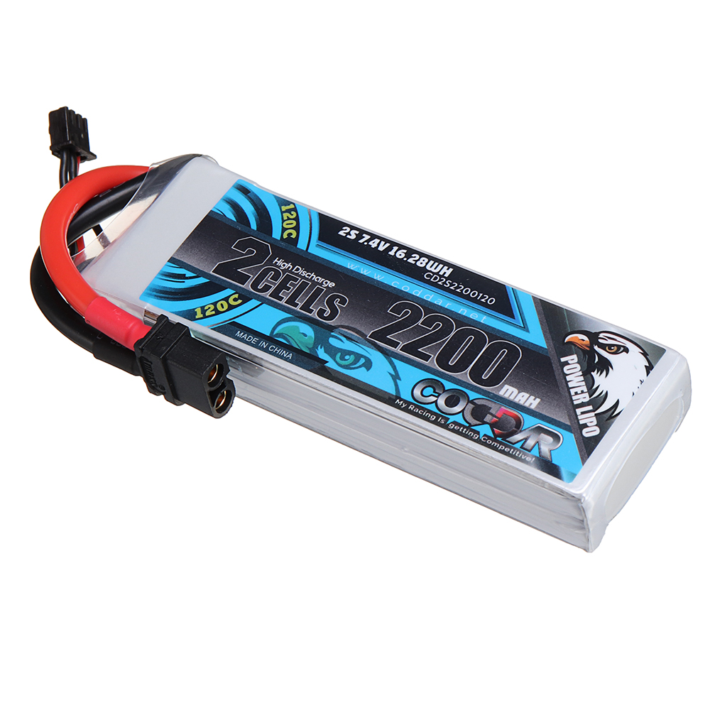 CODDAR 7.4V 2200mAh 2S 120C XT60U-F Plug Lipo Battery for RC Drone