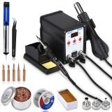 JCD 8908 2 in 1 Soldering Station SMD BGA Rework LCD Digital 750W Station Hot Air Heater Welding Repair Soldering Iron Tools