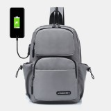 Men USB Charging Multi-carry Multi-Layers Waterproof Crossbody Bag Chest Bag Sling Bag Backpack