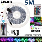 DC12V 5M 5050 SMD RGB LED Strip Light Non-waterproof Tape Lamp + 24/44Key Remote Control Kit for Indoor Home Christmas Decorations Clearance Christmas Lights