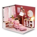 DIY Mini Dollhouse Princess Girls House Wooden Furniture Kit Handmade Small House Creative Assembling Doll House Toys for Children Gift