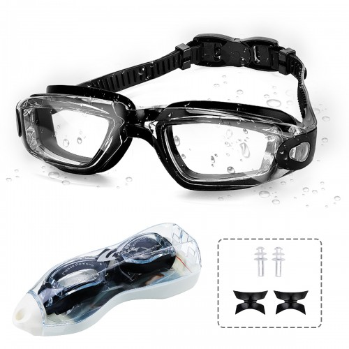 Swimming Goggles Anti-fog Anti-UV Fog Protection No Leaking Clear Wide Vision Eye Pool Swim Glassess with Earplugs Nasal Bracket Goggles Case for Women Men Adult Youth